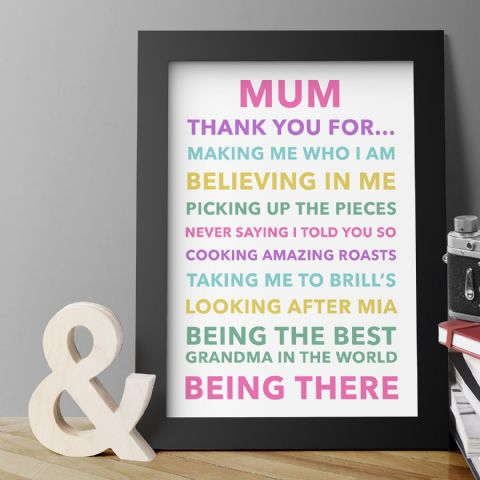 Personalised Thank You Mum Print